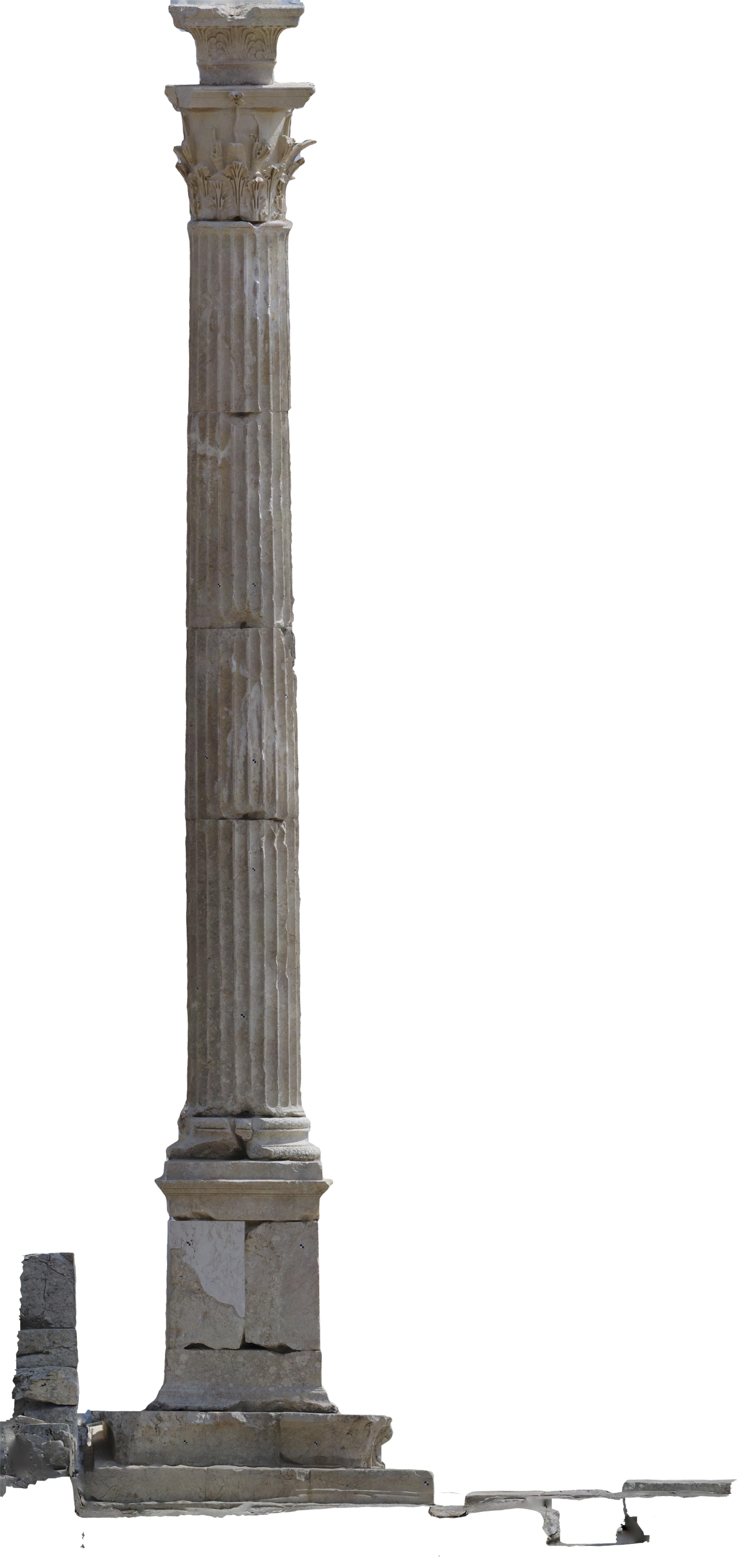 Yukarı Agora'daki güneydoğu onursal sütununun kuzey tarafı.
