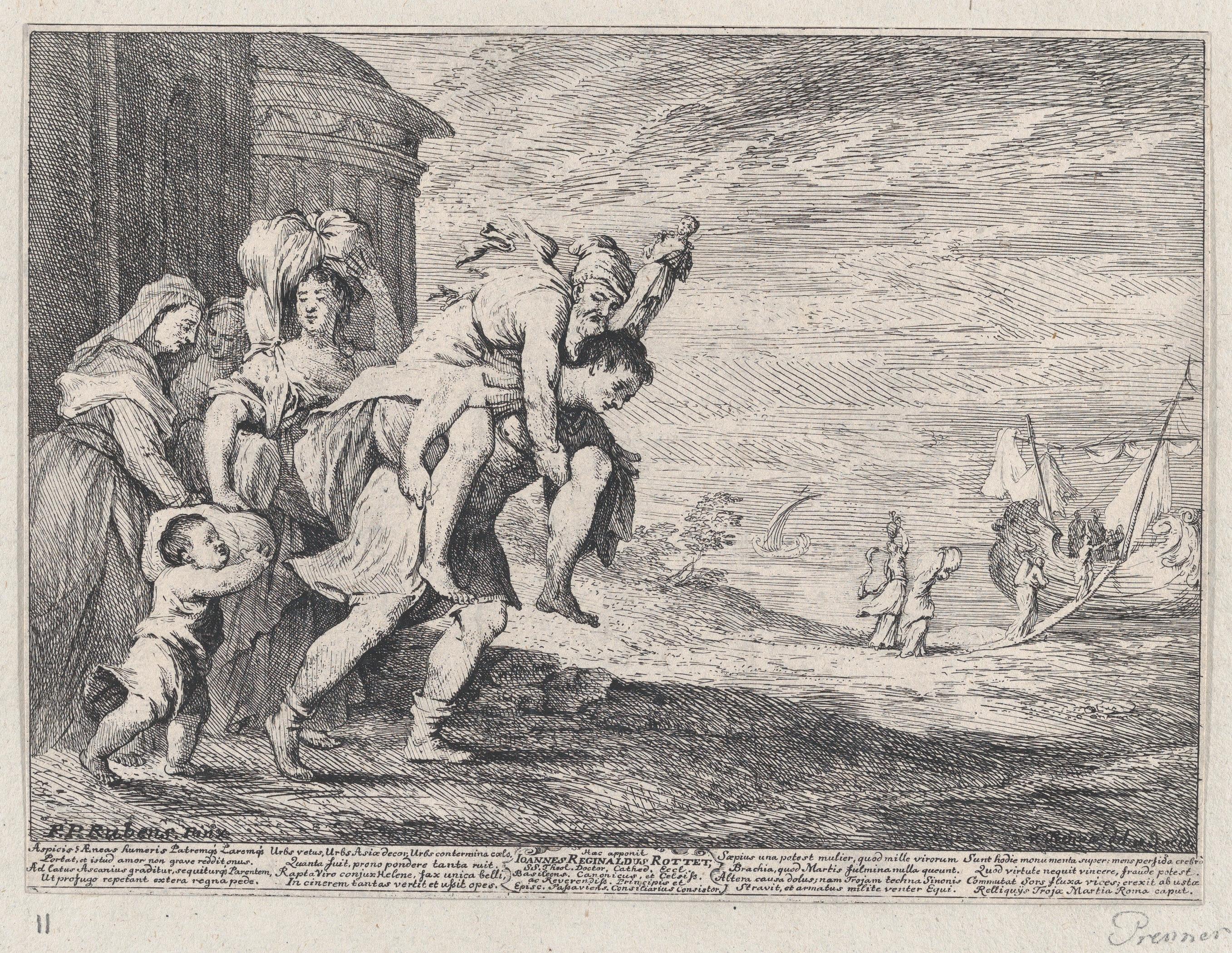 Aeneas 6 kişilik bir grupla Troya'dan kaçıyor. Sırtında babası Anchises'i taşıyor. Arkasında karısı Creusa ve oğlu Ascanius onu takip ediyor. Soldaki iki kişi ise köleler. 1728, Anton Joseph von Prenne