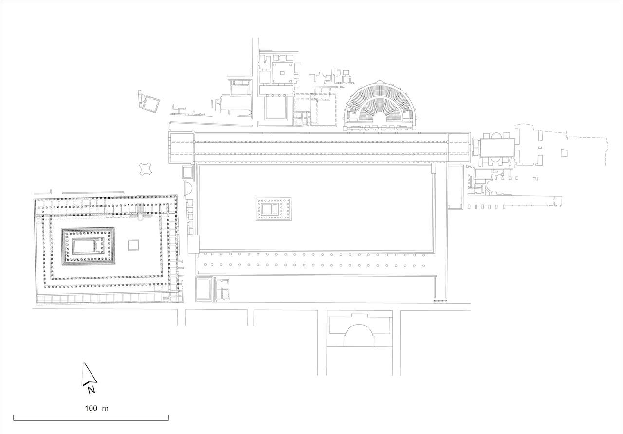 Yukarı Agora'nın zemin planı (© ÖAW-ÖAI, Ch. Kurtze)