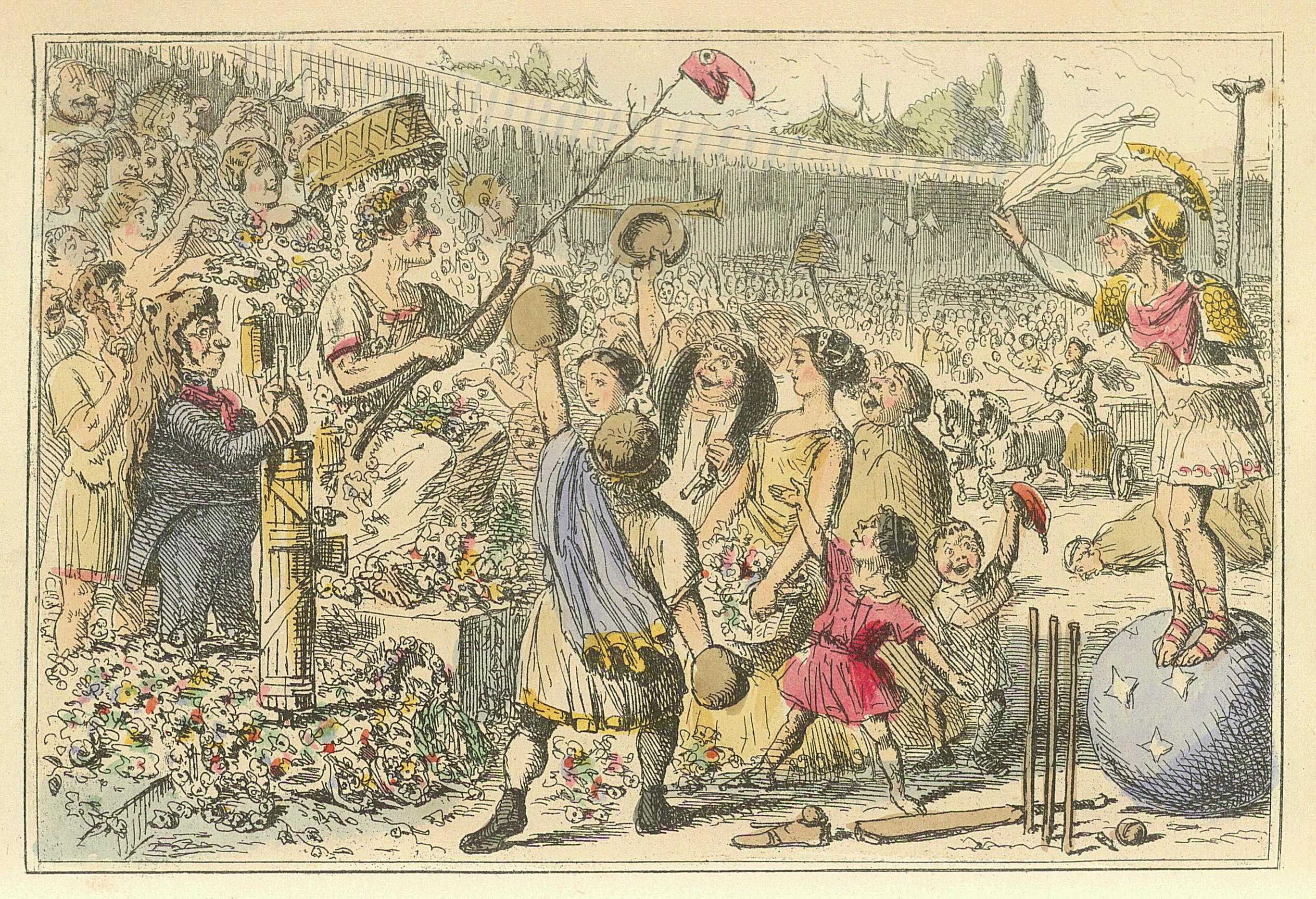 İstmiyan Oyunları. Flaminius Yunanlara özgürlüğünü geri veriyor. John Leech
