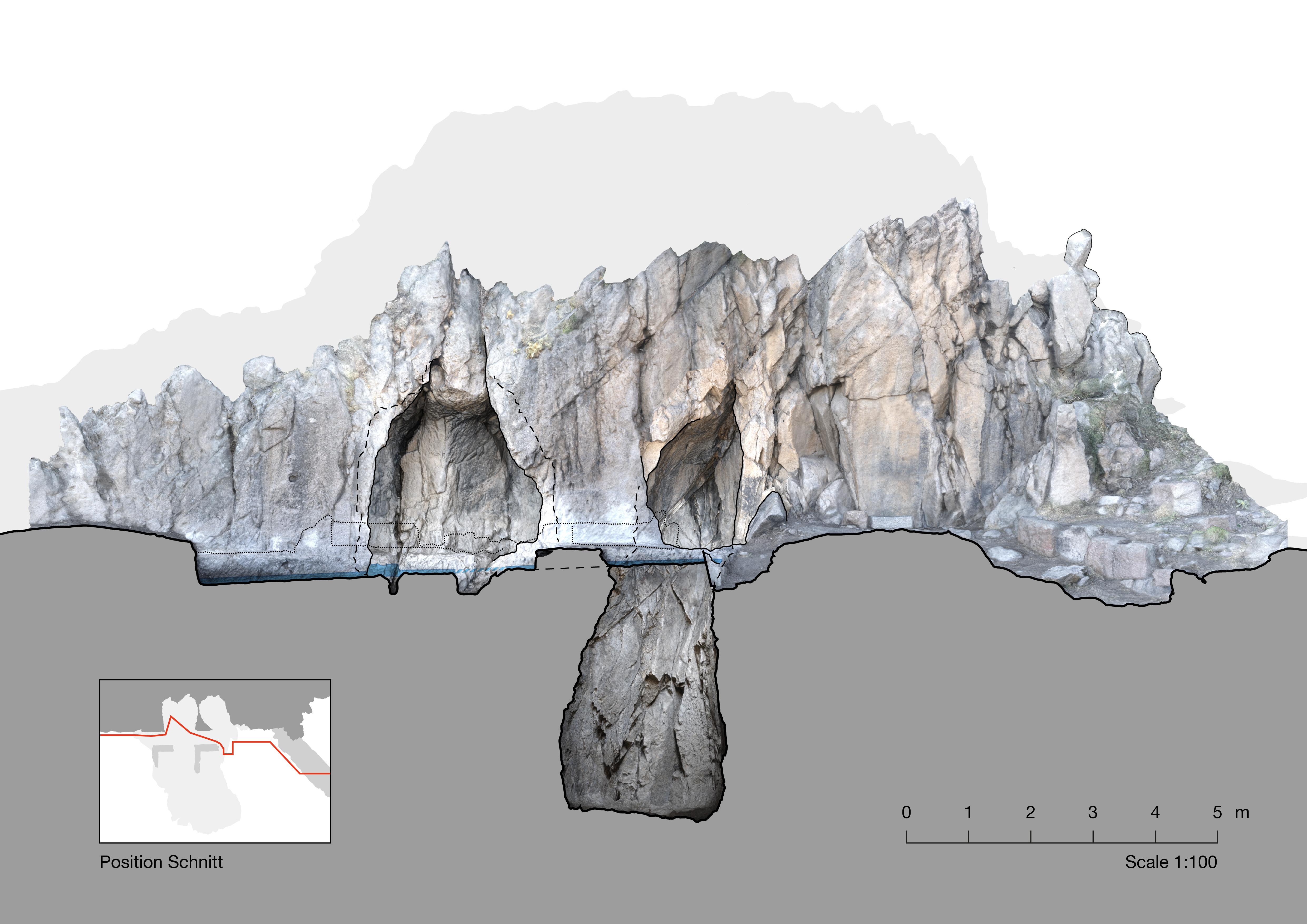Pergamon şehir tepesinin doğu yamacındaki M. Ö. 1. yüzyıla tarihlenen mağara kutsal alanı (O. Bruderer – DAI-Pergamongrabung)
